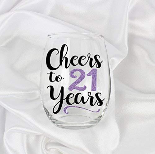 - Birthday Gifts for 21st Birthday Girl for Women Stemless Wine Glass 0105