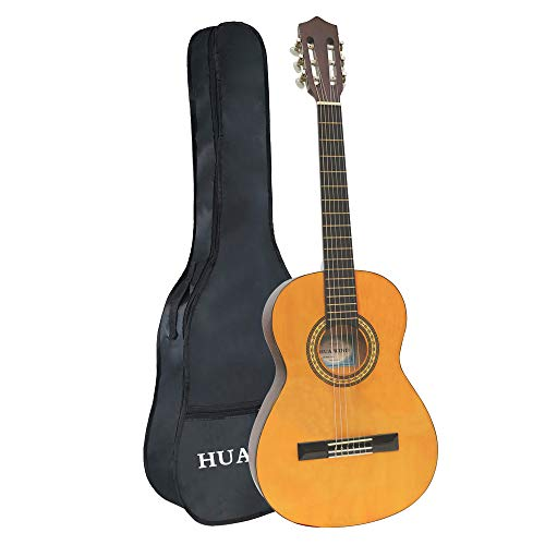 Classical Guitar 36inch 3/4 Size Beginner Guitar Nylon Strings Starter Set w/Case, Natural Classical Guitar Starter Pack