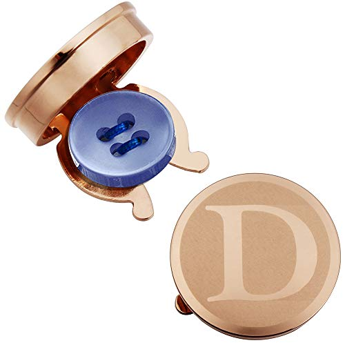 HAWSON Rose Gold Letter Button Cover Cufflinks for Men Initial and Impressing Alphabet A-Z - Best Choice for Weddling Gift D Black Shirt Gold Letters