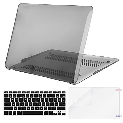 Mosiso Plastic Hard Case with Keyboard Cover with Screen Protector for MacBook Air 13 Inch (Models: A1369 and A1466), Transparent - Black Transparent