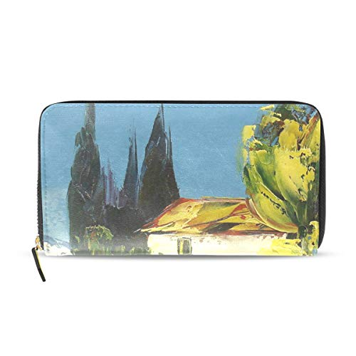 af5c3f8240b5 Womens Wallets Oil Painting Of Landscape Trees Flowers Leather Passport  Wallet Coin Purse Girls Handbags