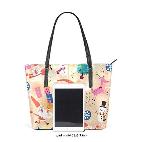 Top Purses Women's TIZORAX Snowman Handbag Totes Shoulder Fashion Leather Gift Handle PU Christmas Bags qFpp8wa