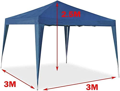 includ 4 Panels Heavy Duty Steel Frame 3x3M Pop Up Gazebo with Sides Church Style Windows 9 Square Meters Coverage Area Blue