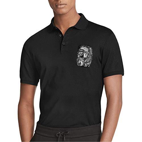 - DXQIANG American Chief, Bald Eagle, Wolf Printed Mens Polo Shirt Novelty Holiday Camp Beach Slim Fit Shirts