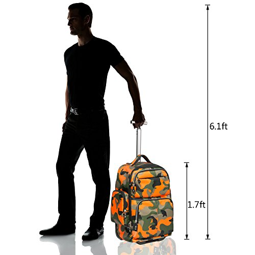 17 inches Multifunction Wheeled Rolling Backpack for Girls Boys School Books Bag