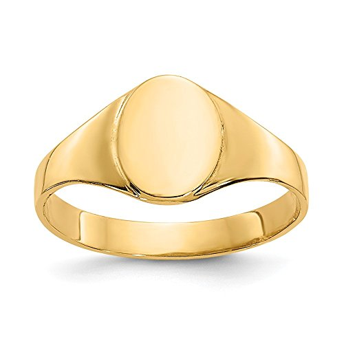(14K Yellow Gold Signet Ring Band Solid 2-7 mm High Oval Baby Signet Ring)