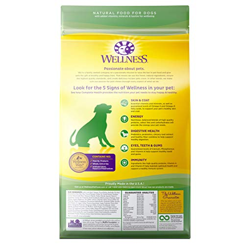 Wellness Complete Health Natural Dry Dog Food, Lamb & Barley, 5-Pound Bag