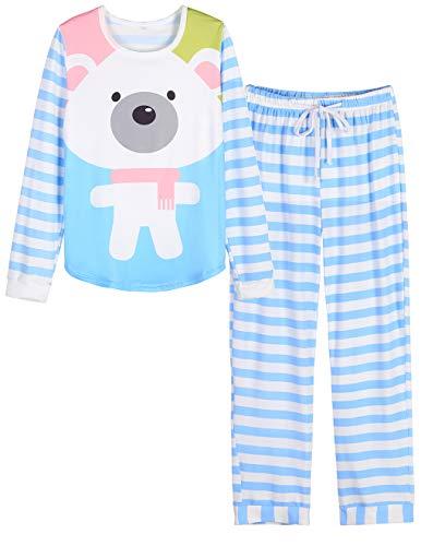 Skirt Stripe Silk (VENTELAN Women Long Sleeve White Bear Round Neck Pajamas Set Striped Sleepwear C-Blue White Bear S (USA Size:4-6))
