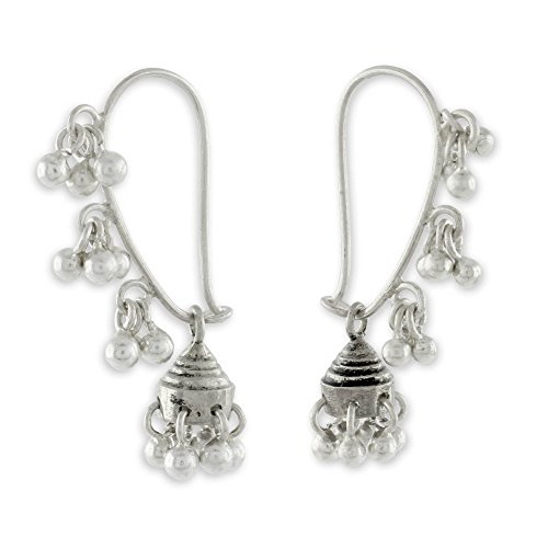 NOVICA .925 Sterling Silver Jhumki Style Jingle Bell Dangle Earrings, Music'