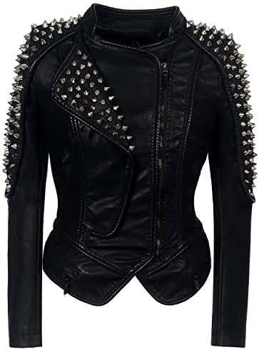 Punk Rivet Faux Leather Pu Jacket Women Rose Winter Autumnmotorcycle Jacket Black Faux Leather Coat Outerwear Punk