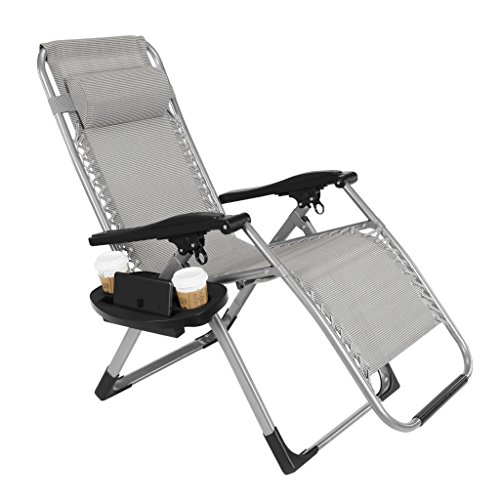 Artist Hand -350LBS Capacity Zero Gravity Heavy Duty Outdoor Folding Lounge Chairs w/Snack Tray,Lawn Patio Reclining Chairs-XL Size (Extra-Wide Seats)
