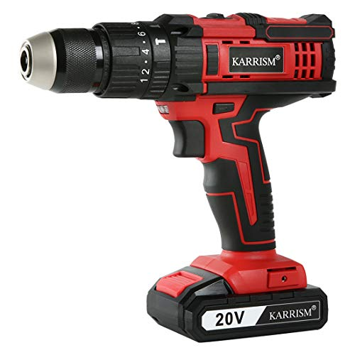 KARRISM 20V Impact Cordless Drill Driver,20+3Torque Setting,2-Variable Speed,2.0Ah Li-Ion Battery,398 In-lbs Torque,1/2″ Metal Keyless Chuck
