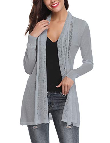 Abollria Long Open Front Lightweight Breathable Cardigans Sweaters(Gray,S)