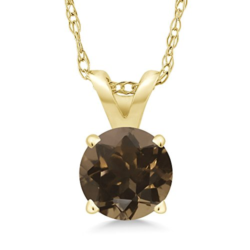 Gem Stone King 0.46 Ct Round Brown Smoky Quartz 14K Yellow Gold Pendant With Chain