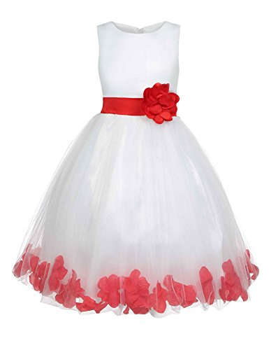 Hotouch Flower Girl Princess Dress Wedding Party Tutu Dresses Red 4T