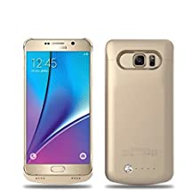 Galaxy Note 5 Battery Case, 2015 Newest 4200mAh Ultra Slim Rechargeable Extended Battery Charging Case for Samsung Galaxy Note 5, Backup External Battery Charger Case, Portable Backup Power Bank Case Gold