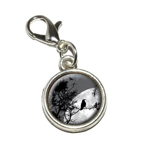Graphics and More Raven at Night Black Bird Full Moon Antiqued Bracelet Pendant Zipper Pull Charm with Lobster Clasp