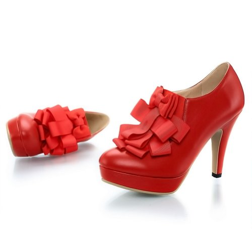with Round Leather Mouth Mid Pumps toe Platform WeenFashion Floriation PU Stiletto Women's Nappa Red PScnp4Wp