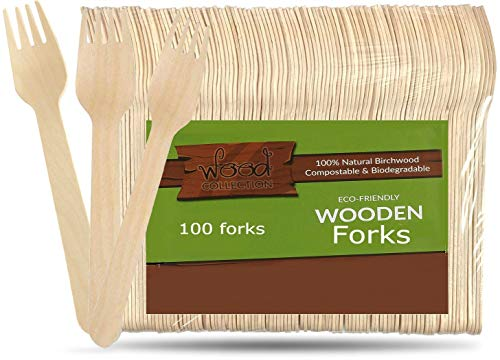 - wood collection Disposable Wooden Forks, From Natural & Biodegradable Birchwood   Compostable Wooden Tableware For Parties, Pack Of 100. (Forks)