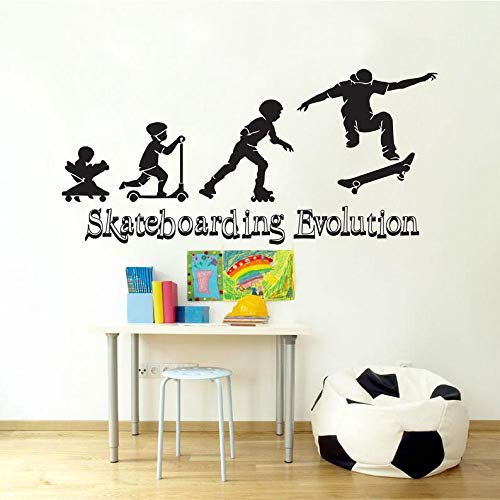 BYRON HOYLE Skateboarding Evolution Wall Decal Skate Wall Art Stickers Skateboard Decals Skateboard Wall Stickers Kids Room Removable Home Decor 547RE