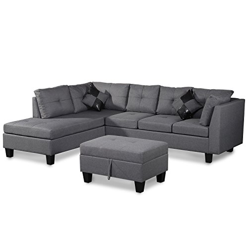 Merax. Sofa 3-piece Sectional Sofa with Chaise Lounge/Storage Ottoman/7 Back Cushions/2 Throw Pillows (Gray.)