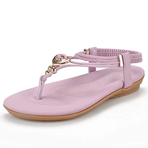 Women's Summer Bohemian Beaded Ankle Walking Strap Sandals Size 6 7 8 9 Casual Flip Flops Ladies Beach Sexy Flats Shoes (11 B(M) US, Purple) ()