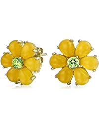 Daisy Flower Dyed Peridot August Birthstone Yellow Jade Stud earrings Gold Plated 11mm