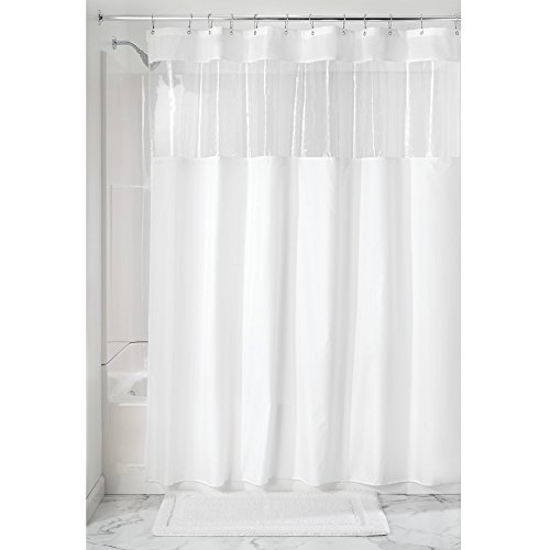 InterDesign Fabric Shower Curtain, Water-Repellent and Mold- and Mildew-Resistant Liner for Master, Guest, Kid's, College Dorm Bathroom, 72