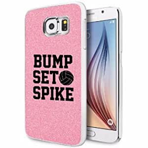 Samsung Galaxy S6 Glitter Bling Hard Case Cover Bump Set Spike Volleyball (Light Pink)