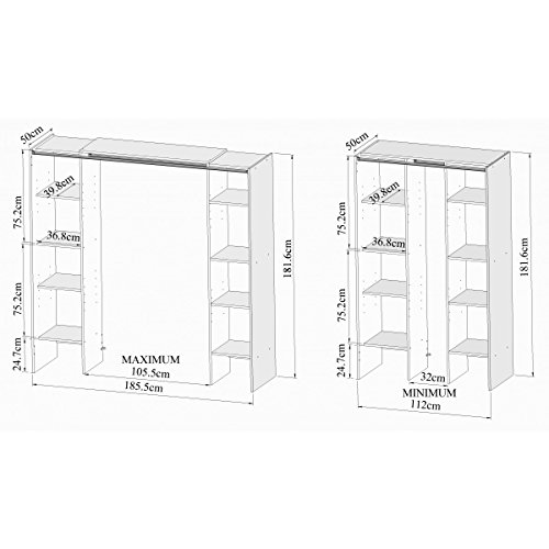 Armoire extensible 2 colonnes 1 penderie finition chêne naturel Bardolino-Armoire extensible 2 colonnes 1 penderie finition chêne naturel Bardolino