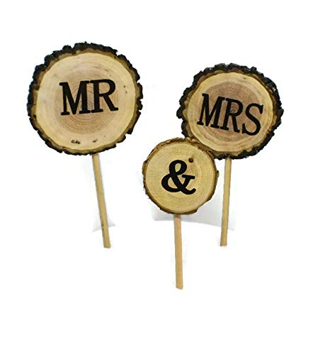 Mr & Mrs Rustic wood wedding Cake topper