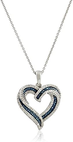 Amazon Collection Sterling Silver Blue and White Diamond Heart Pendant Necklace (1/2 cttw), 18""