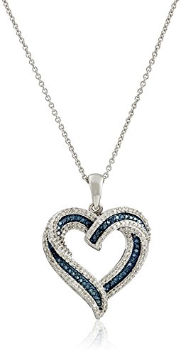 Sterling Silver Blue and White Diamond Heart Pendant Necklace (1/2 cttw), 18