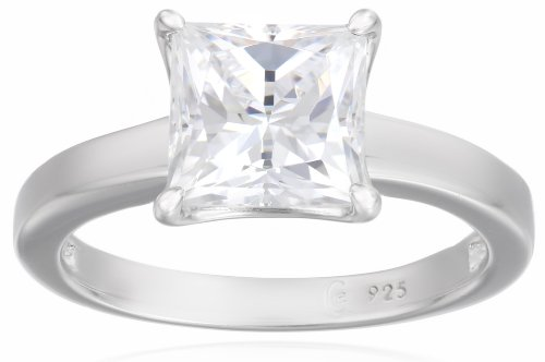 Platinum Plated Sterling Silver Solitaire Engagement Ring set with Princess Cut Swarovski Zirconia (2 cttw), Size 6