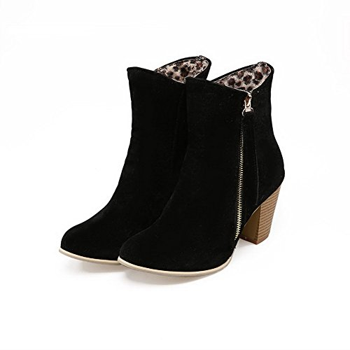 High Black Material Top Women's Heels WeenFashion Boots Round Soft Zipper Toe Low Closed w0xa7Oq