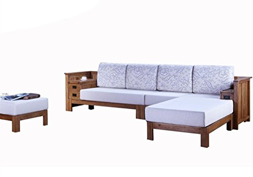 100% Solid Wood Oak Frame Sectional Sofa With Foam Cushion Sofa American Style Living Room Furniture (Wood Frame Sofa With Cushions)