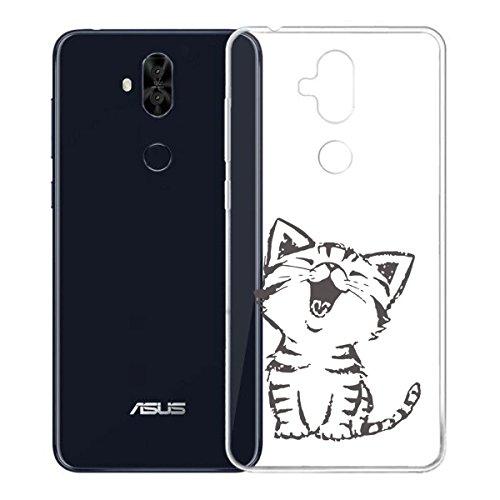 Funda para Asus Zenfone 5 Lite ZC600KL , IJIA Transparente Gato Y Libros TPU Silicona Suave Cover Tapa Caso Parachoques Carcasa Cubierta para Asus Zenfone 5 Lite ZC600KL (6.0) WM90