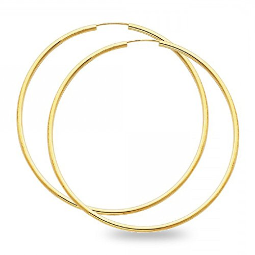 Yellow Gold Plain Round Hoop - 6
