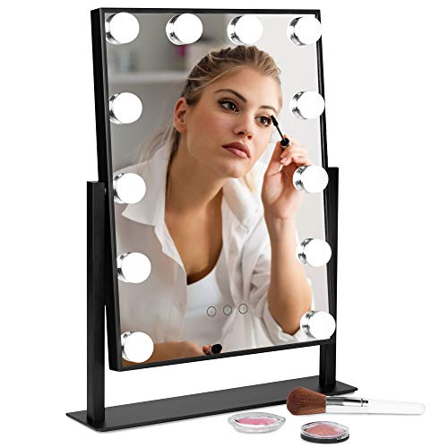 Best Choice Products Hollywood Makeup Vanity Mirror w Smart Touch, Adjustable Color Temp Brightness, 12 LEDs – Black