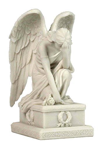 Weeping Angel Kneeling w/ Hand on Forehead Statue Sculpture Figurine - Kneeling Angel Garden Figure
