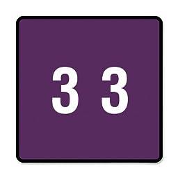 Smead DCC Color-Coded Numeric Label, 3, Label Roll, Purple, 250 labels per Roll (67423)