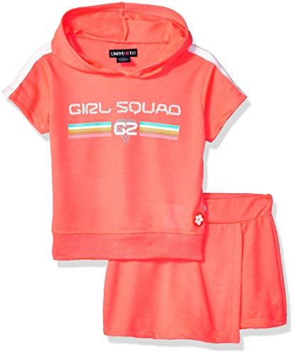 Girls Skort Set - Limited Too Girls' Little 2 Piece Active Fashion Top and Skort Set, Neon Red Multi, 6