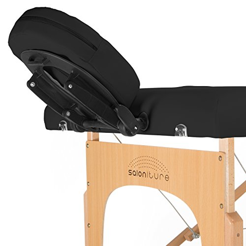 Saloniture Professional Portable Folding Massage Table with Carrying Case - Black