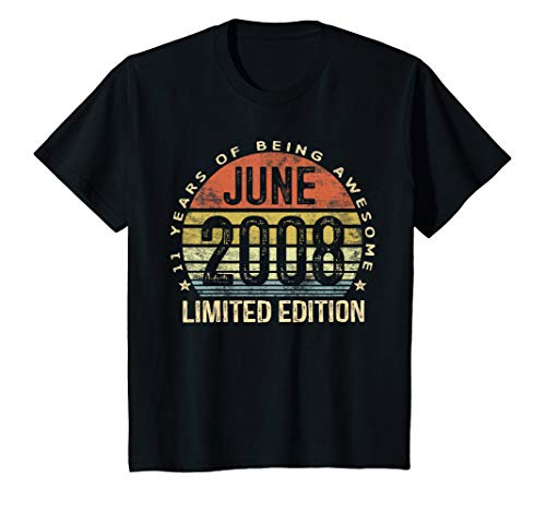 - Kids Born June 2008 Limited Edition Bday Gifts 11th Birthday T-Shirt