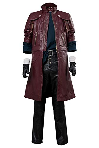 Mutrade Devil May Cry V 5 Dante DMC 5 Cosplay Costume Deluxe Leather Aged Outfit,X-Large Red (Dmc Dante Coat)