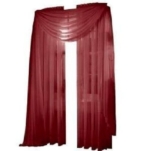 "Elegance Linen 2 Piece Solid Sheer Window Curtains Rod Panels treatment 40""w X 84""l Burgundy"