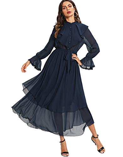 Milumia Women's Contrast Lace Ruffle Detail Crochet Trim Belted Tiered Layer Flowy Maxi Dress Navy M