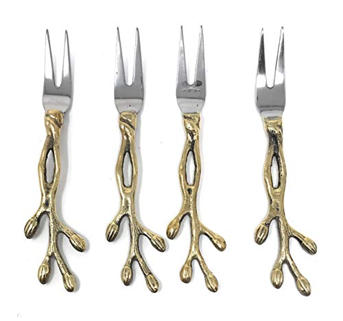 IHI Forks with Gold Gilded Twig Handles For Appetizer and Hor D'Oeuvres, Set of 4, 5 Inches -