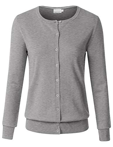 JSCEND Women's Long Sleeve Button Down Crew Neck Soft Knit Cardigan Sweater, Jcd001_heathergrey, Medium