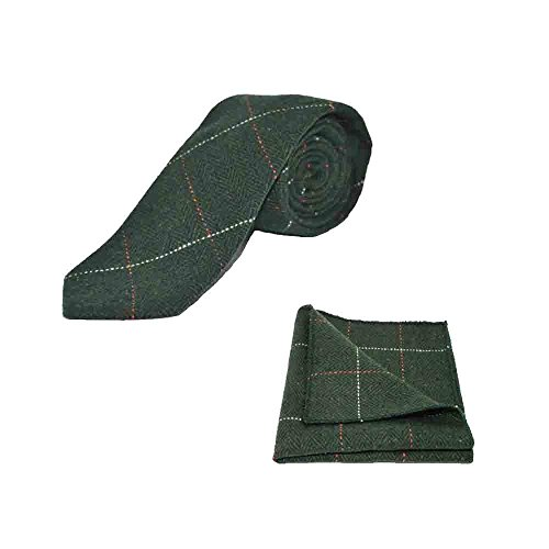 Luxury Herringbone Forest Green Tweed Men's Tie & Pocket Square (Luxury Herringbone Necktie)